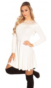 Trendy KouCla knit dress with embroidery & mesh White