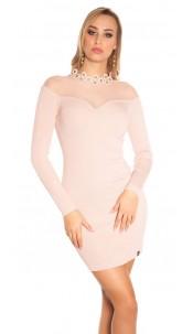 Sexy fijn gebreide jurk met gaasstof antiekroze