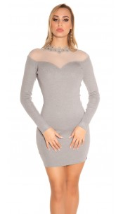 Sexy KouCla fine knit dress w. mesh & crochet deco Grey