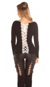 Sexy KouCla sweater with lacing & embroidery Black