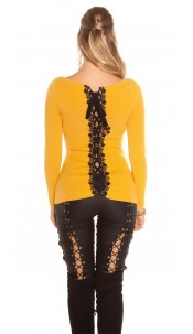 Sexy KouCla sweater with lacing & embroidery Mustard