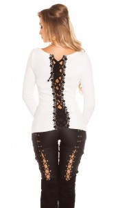 Sexy KouCla sweater with lacing & embroidery White