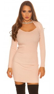 Sexy KouCla 2in1 Bolero knit dress with decors Antiquepink