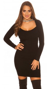 Sexy KouCla 2in1 Bolero knit dress with decors Black
