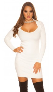 Sexy KouCla 2in1 Bolero knit dress with decors White
