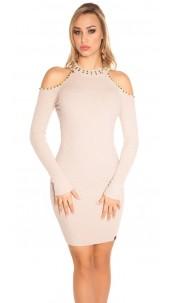 Sexy blote schouder gebreide jurk met klinknagels beige