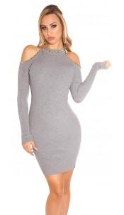 Sexy KouCla Cold shoulder knit dress with rivets Grey