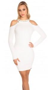 Sexy blote schouder gebreide jurk met klinknagels wit