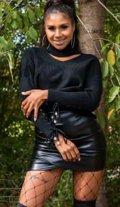 Trendy col trui met uitsparing zwart