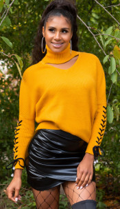 Trendy KouCla turtleneck jumper with cut out Mustard
