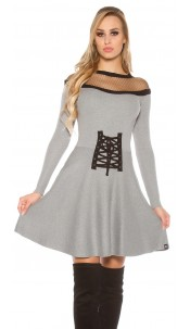 Sexy KouCla knit dress w. mesh & corsage deco Grey