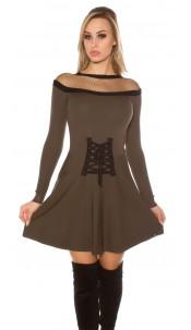 Sexy KouCla knit dress w. mesh & corsage deco Khaki
