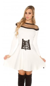 Sexy KouCla knit dress w. mesh & corsage deco White