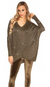 Trendy KouCla V-Cut Oversize Glitter jumper Khaki