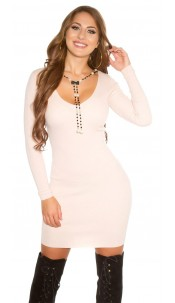 Sexy KouCla knit dress with removeable necklace Antiquepink