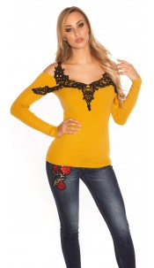 Sexy Koucla cold Shoulderpullover with Embroidery Mustard