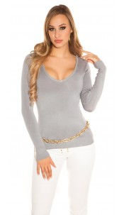 Sexy Basic fine knit V-neck jumper Grey