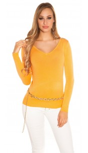 Sexy Basic fine knit V-neck jumper Orange
