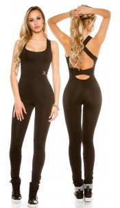 Trendy workout jumpsuit with sexy back Black
