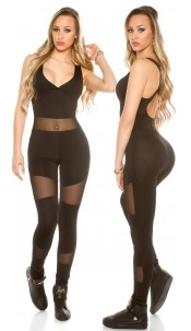 Trendy KouCla Sports Jumpsuit with Mesh Black