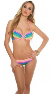 Sexy Push-Up Bikini in rainbow colours Neonfuchsia