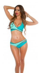 Sexy Neck Bikini in wrap look padded Mint