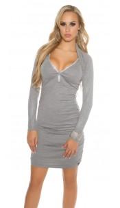 Sexy Koucla knitdress w. rhinestones &zip, ruffled Grey