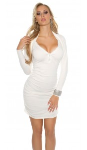 Sexy Koucla knitdress w. rhinestones &zip, ruffled White