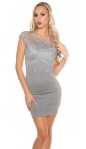 Sexy KouCla fine knit mini dress with lace Grey