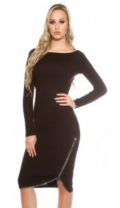 Sexy KouCla knit dress with rhinestone zip Black