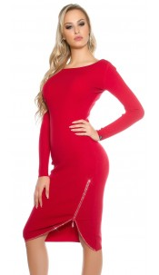 Sexy KouCla knit dress with rhinestone zip Red
