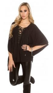 Trendy KouCla bat / poncho look jumper Black