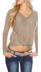 Sexy KouCla V-Cut jumper with wrap look Taupe