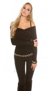 Sexy KouCla Carmen jumper in wrap look Black