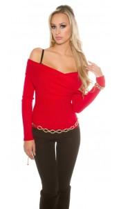 Sexy KouCla Carmen jumper in wrap look Red