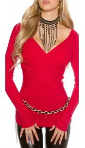 Sexy KouCla ribbed jumper in wrap look Red