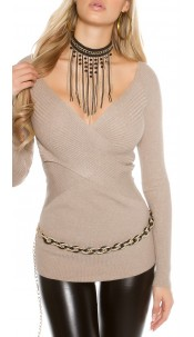 Sexy KouCla ribbed jumper in wrap look Taupe