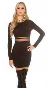 Sexy KouCla knit mini dress with mesh Black