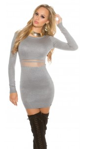 Sexy KouCla knit mini dress with mesh Grey