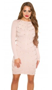 Sexy KouCla fine knit dress with mesh & rivets Antiquepink