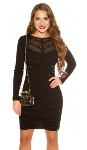 Sexy KouCla fine knit dress with mesh & rivets Black