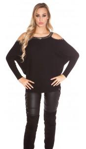 Trendy KouCla Coldshoulder Sweater with rivets Black