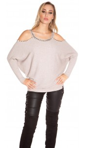 Trendy KouCla Coldshoulder Sweater with rivets Cappuccino