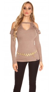 Sexy KouCla Coldshoulder V-Cut Sweater with Volant Cappuccino