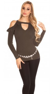 Sexy KouCla Coldshoulder V-Cut Sweater with Volant Khaki