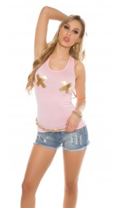 Sexy Tanktop with golden X-Print Pink