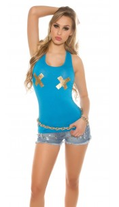 Sexy Tanktop with golden X-Print Turquoise
