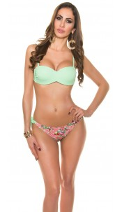 Sexy bikini with trendy flowerpants Mint