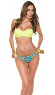 Sexy bikini with trendy flowerpants Neonyellow