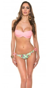 Sexy bikini with trendy flowerpants Salmon
